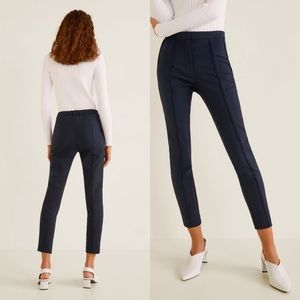 Mango Navy Blue Front Seam Ankle Trousers